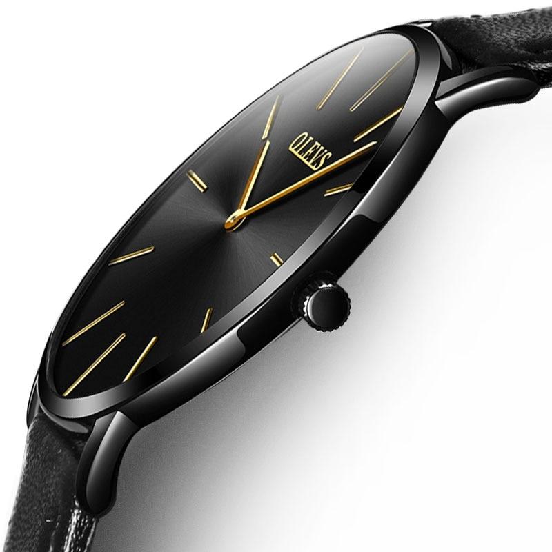 8c848053f OLEVS جديد أعلى الفاخرة ووتش الرجال العلامة التجارية ساعة الرجال الساعات  رقيقة جدا جلدية كوارتز الأزياء