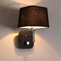 현대 미니 멀리 즘 LED 손잡이 스위치 침대 옆 독서 벽 빛 거실 복도 계단 호텔 발코니 패브릭 장식 벽 램프