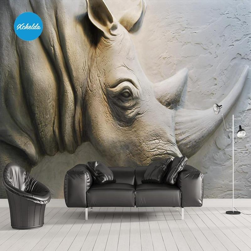 Elegant 3D Rhino Wandbild Tapeten Custom Wandmalereien Malerei Geprägte Rhino Design  Hintergrund Schlafzimmer Wohnzimmer Papel De Parede