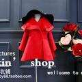 girls wool blends red long coat long sleeve winter