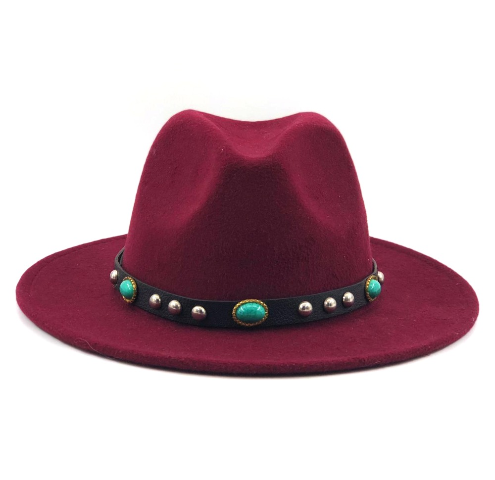 Felt Fedora Hat Ribbon Sombrero-Caps Jazz Church Wool Elegant Autumn Winter Women Luxury