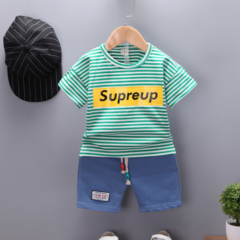 Summer Casual Baby Boys And Girls Clothes Children Cotton Striped T Shirt And Pant Kit Kids Toddler Two piece Outfit Set 0 4Y in Clothing Sets from Mother Kids
