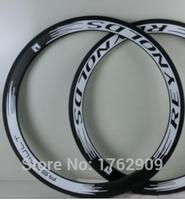 2Pcs Newest White 700C 50mm Clincher Rims Road Bicycle 3K UD 12K Full Carbon Fibre Bike