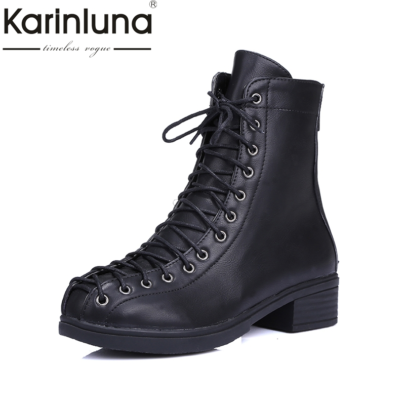 KARINLUNA Brand Design Customize Big Size 34-42 Square Heels Ankle Boots Fashion Lace Up Date Woman Shoes Women Chelsea Boots