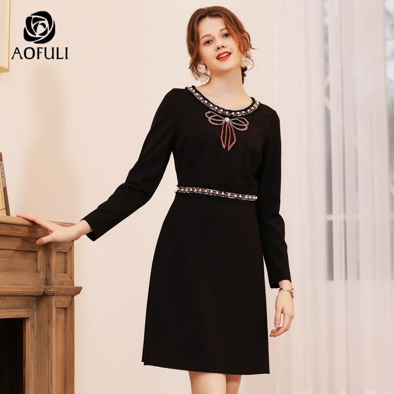 AOFULI łuk kształtki z długim rękawem Slim sukienka na zimę kobiet Plus Size wysokiej talii sukienki na imprezę L czarny  XXXL 4XL 5XL A3741 w Suknie od Odzież damska na  Grupa 1