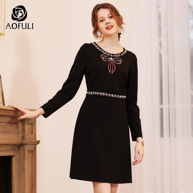 AOFULI القوس المحدبة طويل الأكمام ضئيلة اللباس لفصل الشتاء النساء زائد حجم عالية الخصر فساتين للحزب الأسود L  XXXL 4XL 5XL A3741-في فساتين من ملابس نسائية على  مجموعة 1