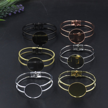 10pcs/Lot Cabochon 30mm Inner Pad Bronze/Gold/Silver/Black Bracelet Vintage Bangle Jewelry Accessories