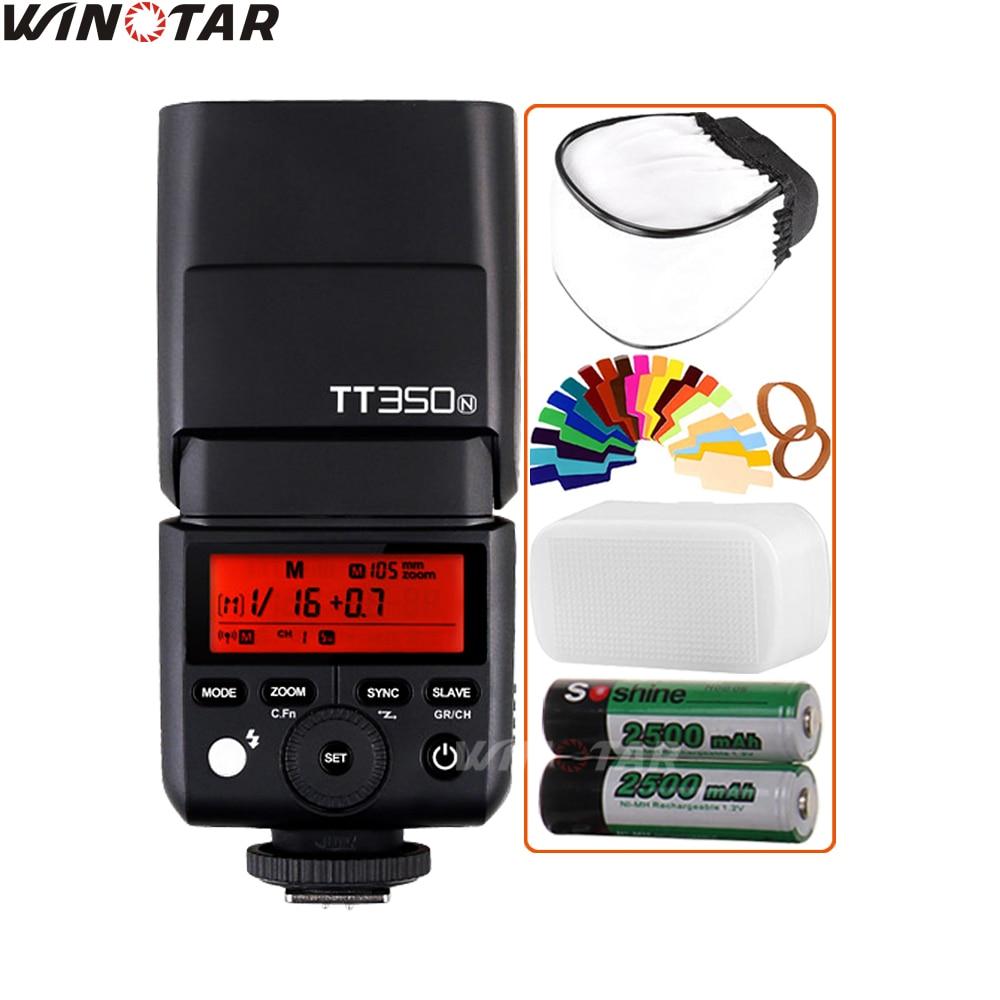 Godox Mini Speedlite TT350N Camera Flash TTL HSS + 2x 2500mAh Battery for Nikon D7500 D7200 D7100 D5600 D5500 D3400 D3300 D3200Godox Mini Speedlite TT350N Camera Flash TTL HSS + 2x 2500mAh Battery for Nikon D7500 D7200 D7100 D5600 D5500 D3400 D3300 D3200