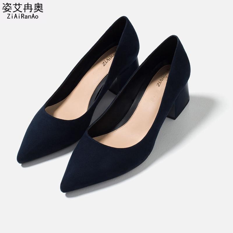 ФОТО Full Season Fashion Shoes Woman PU Nubuck Leather Women Pumps Square heel Slip On 5 CM High Heels Pointed Toe Women's Shoes