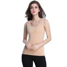 Осенне-зимний термо жилет нижнее белье для женщин Ультра мягкий флис подкладка топики без рукавов рубашки топы