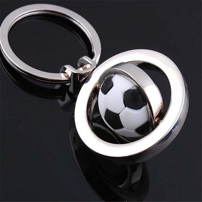 RE 12pcs/lot High Quality Fur Keychain Rotate Basketball Football Golf Key Chain Sports Enthusiast Personalized Keychain