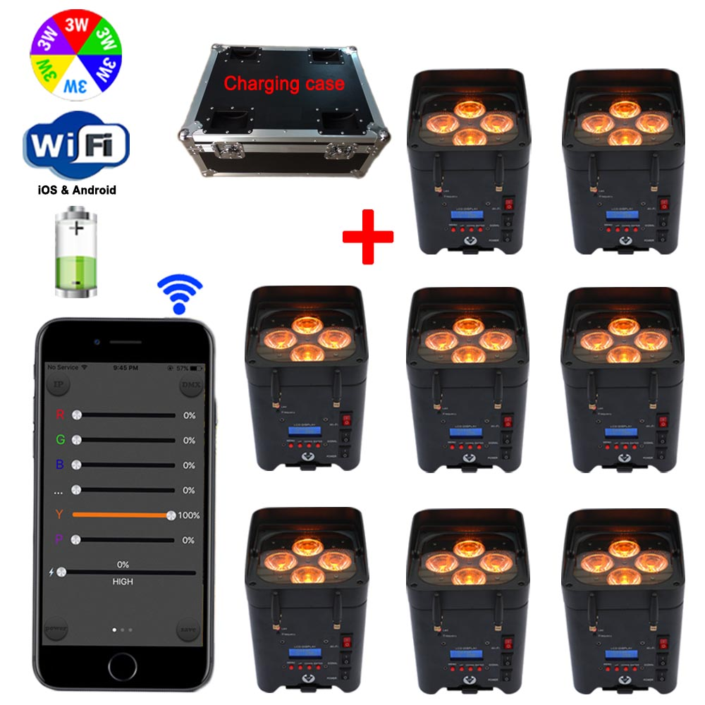 Charging Case + 8pcs Wireless DMX LED Uplighting 6IN1 Battery Operated Up Lights With iOS& Android App Control Wedding DJ Light 10 light 1 charging road case remote control 6pcs 15w rgbwa 5in1 battery powered wireless dmx led uplighting