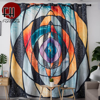 Geometric Circle 3D Blackout Curtains For Living Room Bedroom Modern Artistic Curtain Pattern Window Treatments Home Decor Panel