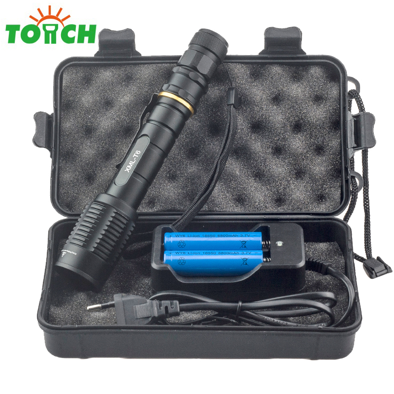 TOACH 5000lumen CREE XML T6 5 Mode Led Flash Light Zoomable Rechargeable Hand Torch Gladiator Flashlight for Outdoor Fishing 6000lumens bike bicycle light cree xml t6 led flashlight torch mount holder warning rear flash light