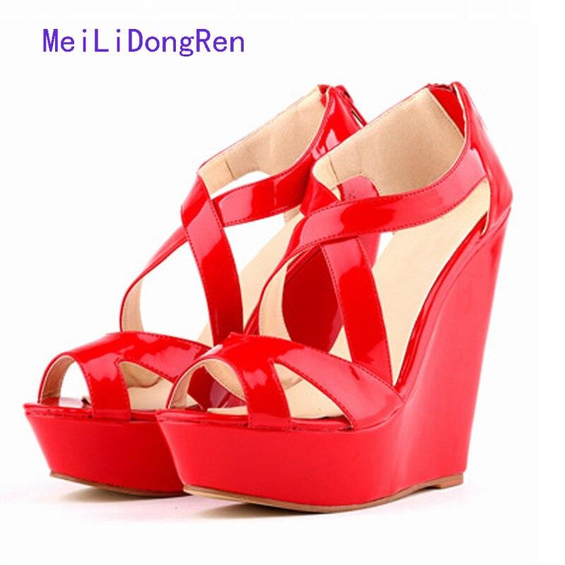 Womens Sandals Summer 2017 High Quality Ladies Shoes Platform Sandals High Heels Zipper Wedge Summer Shoes chaussure femme denim zipper hollow worn stiletto womens sandals