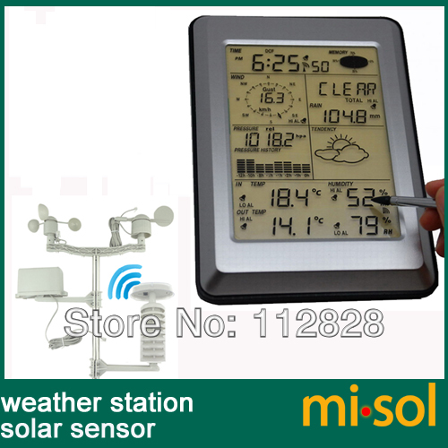 misol Professional Wireless Weather Station Touch Panel w Solar sensor w PC interface