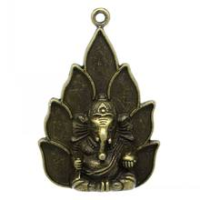 DoreenBeads Retail Charm Pendants Buddha Amulet Antique Bronze Elephant Carved 5.3x3.6cm,5PCs(China)