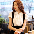 dabuwawa shirt female 2016 blusas summer fashion short sleeve casual vintage bow chiffon shirts women white red pink doll