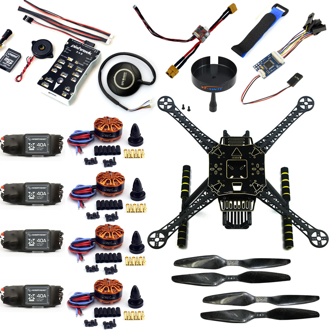 DIY RC Quadcopter FPV Avions S600 Drone Cadre Kit PX4 PIX Contrôleur de vol Intégrer Buzzer 700kv Moteur GPS Aucune TX RX F19457-A