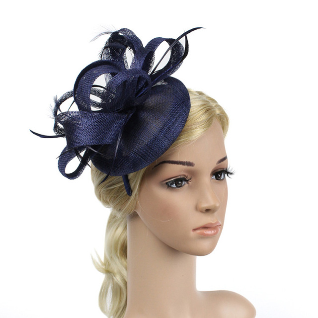 d6d290173dc3d 2017 New Sinamay Feather Fascinator Hair Bands Black Navy Vintage Wedding  Bride Hats Dinner Women Sinamay