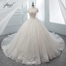 Fmogl יוקרה מתוקה תחרת כדור שמלת חתונת שמלת 2020 קפלת רכבת אפליקציות קריסטל שמלות הכלה Vestido דה Noiva
