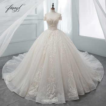 Fmogl Luxury Sweetheart Lace Ball Gown Wedding Dress 2019 Chapel Train Appliques Crystal Bride dresses Vestido De Noiva - Category 🛒 Weddings & Events