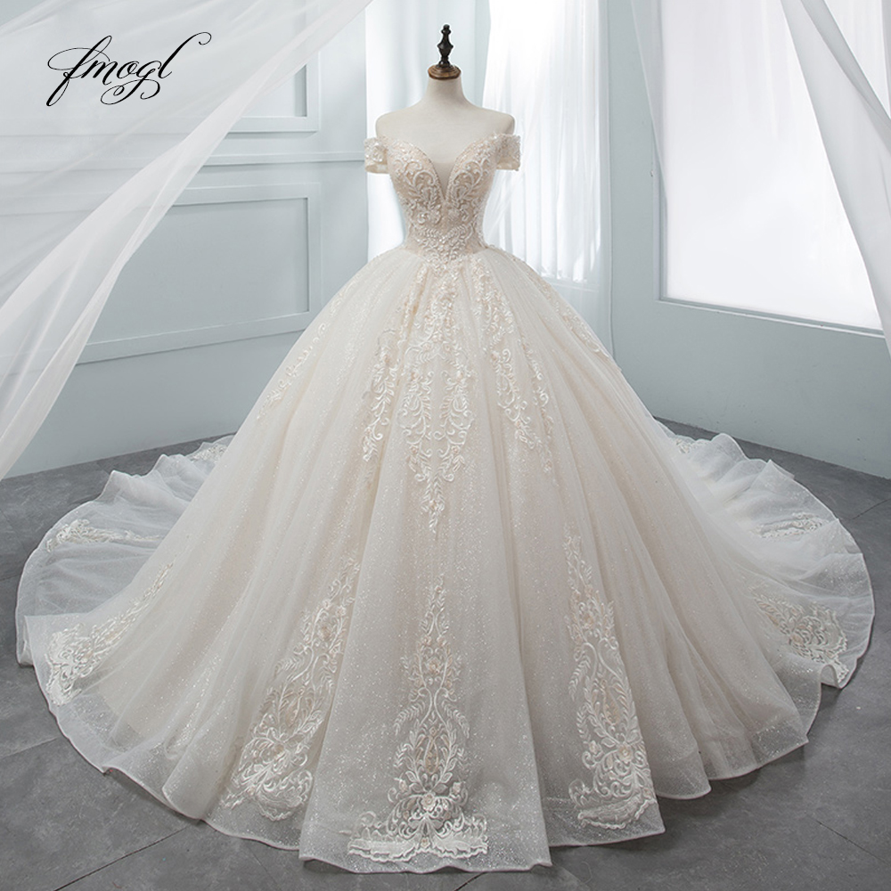 Fmogl Luxury Sweetheart Lace Ball Gown Wedding Dress 2020 Chapel Train Appliques Crystal Bride Dresses Vestido De Noiva