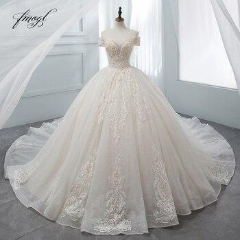 Fmogl Luxury Sweetheart Lace Ball Gown Wedding Dress 2020 Chapel Train Appliques Crystal Bride dresses Vestido De Noiva - discount item  17% OFF Wedding Dresses