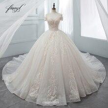 Роскошное кружевное бальное платье Fmogl с сердечком, свадебное платье 2020, свадебные платья со шлейфом и аппликацией, свадебные платья с кристаллами, Vestido De Noiva
