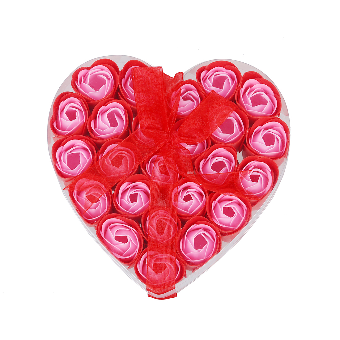 New 24 Pcs Red Scented Bath Soap Rose Petal In Heart Box