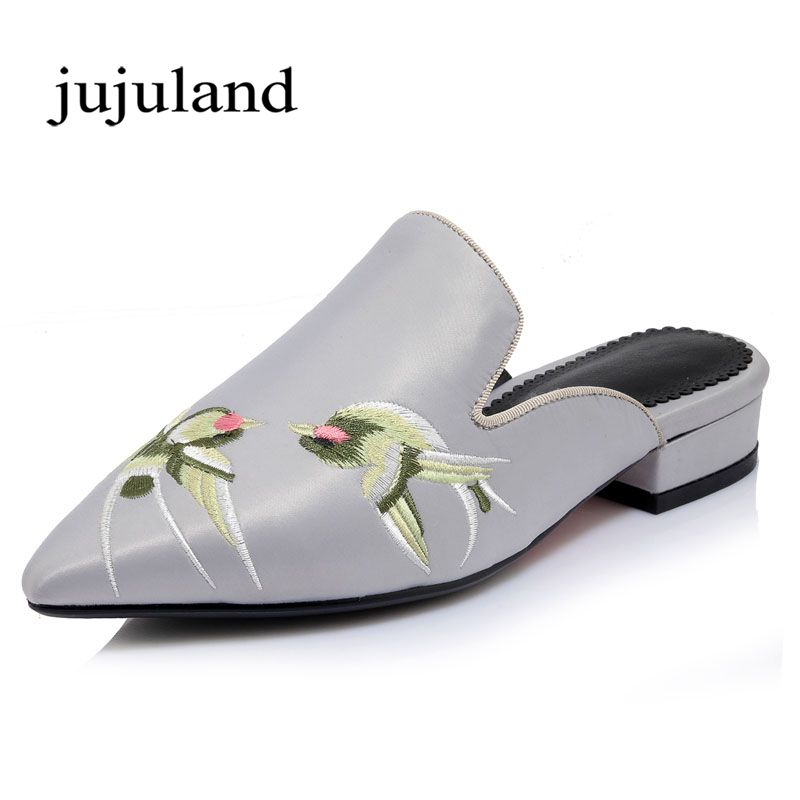 Women Flats Flat Lazy Shoes Mules Retro Silk Slippers Floral Embroider Low Heels Slip-On Pointed Toe Big Size Animal Prints pu pointed toe flats with eyelet strap