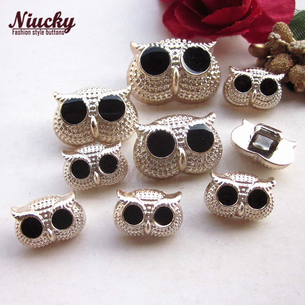 Niucky 15mm /21mm/ 25mm Shank Black epoxy gold owl decorative button clothing sewing headwear crafts buttons supplies P0306d-005