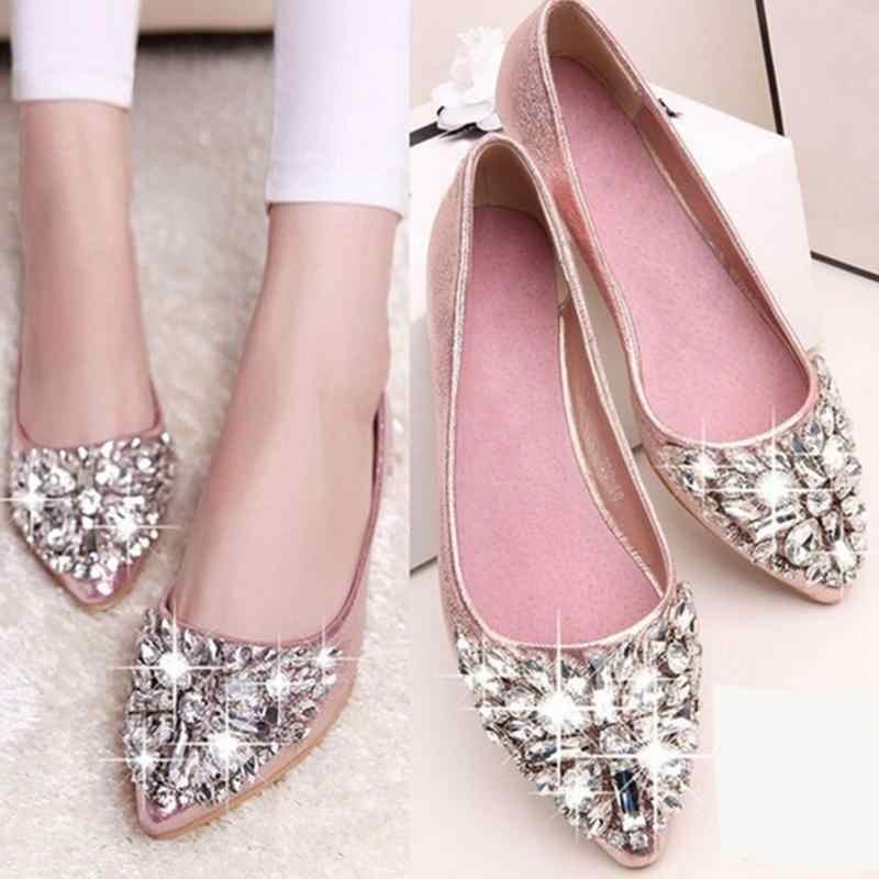 ... 2017 new fashion single shoes bling rhinestone wedding shoes flat gold  silver women s flat heel casual ... f38ce45e8ee1