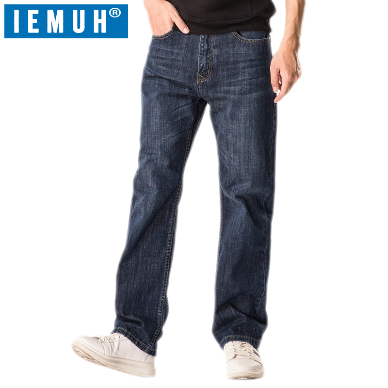 IEMUH Brand New Hot Sale Men's Business Classic Leisure   Jeans   Basic styles men   Jeans   Straight pants High Quality Plus Size 28-48