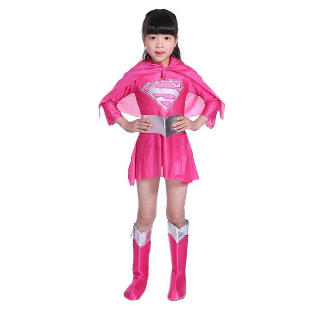 Kids Pink Supergirl Costume Toddler Girls Supergirl Dress Up Outfit ...