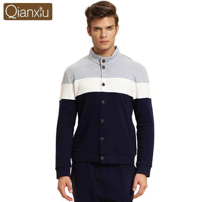 Qianxiu Sleepweaer Pour Hommes Tricoté Coton De Nuit À manches Longues vêtements de Nuit Épaissir Pyjama Ensembles