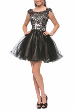 New Arrival 2014 Above Knee Ball Gown Mini Tulle Sexy Black Homecoming Dresses Short Beads Backless Prom