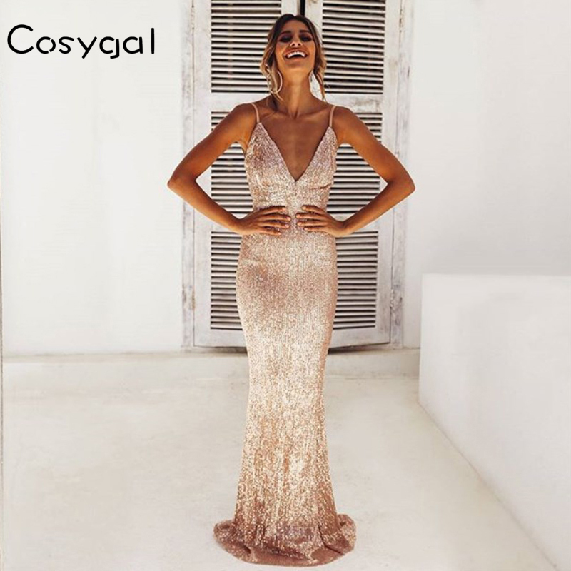 Detail Feedback Questions about COSYGAL Deep V Neck Sexy Long Dress Women  Spaghetti Strap Maxi Dresses Sequin Bodycon Elegant Dress High Quality  Female ... 6b7403bc946f