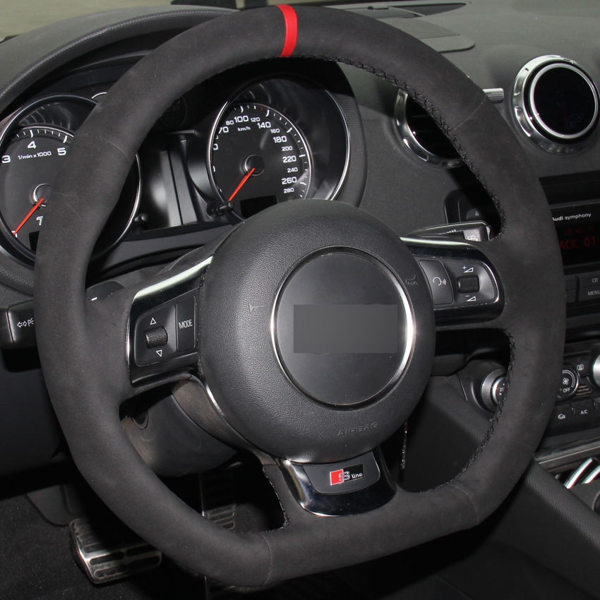 Black Suede Hand stitched Car Steering Wheel Cover for Audi TT 2008 2013
