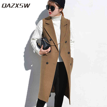 QAZXSW New Women Formal Jacket Brand Waistcoat Sleeveless Long Wool Coat OL Jacket XS~XXL Slim Sleeveless Jacket Suit Vest ZJ886