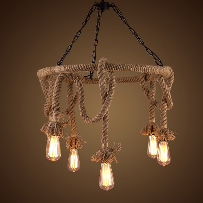 Vintage Rope Pendant Lights Lamp Loft Creative Personality Industrial Lamp Edison Bulb American Style For Living Room decoration vintage led pendant lights lamp loft creative personality industrial lamp edison bulb american style for dining room decoration