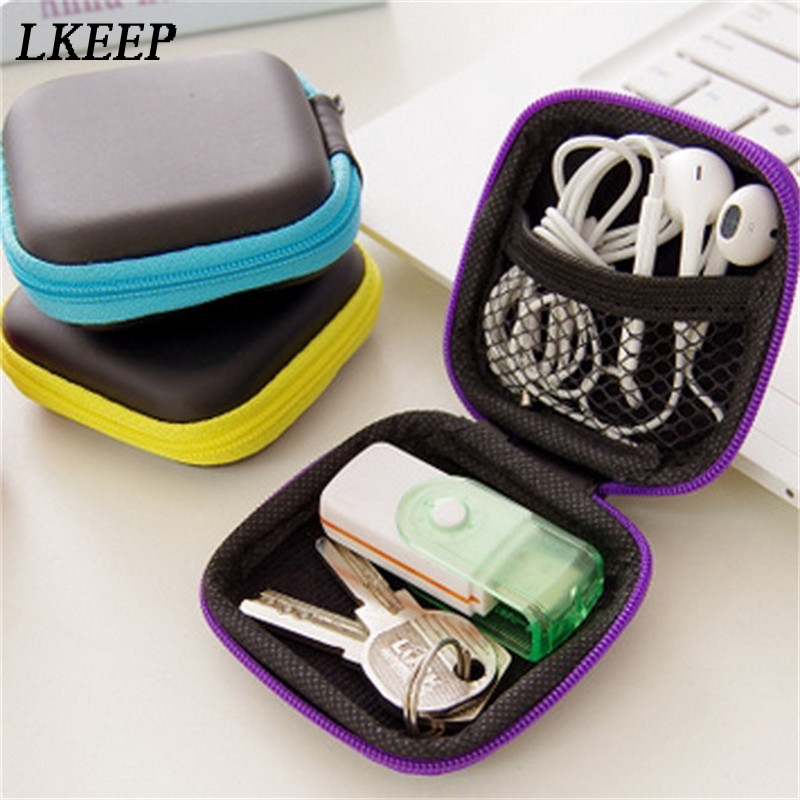 2019 Portable Mini Electronic Bag Zipper Headphones Box In-ear Earphone Cases EVA Square Earbuds Headset Carry Digital Bag