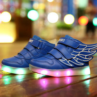Wing style Girls Boys Kids Sneakers USB Charge Luminous Glowing Lighted LED lights Children Casual Shoes Sport Running shoes