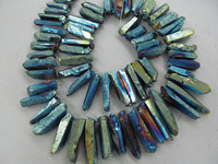 wholesale full strand 17inch /L Titanium quartz crystal freeform spikes points drilled briolettes jewelry chains bead