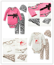 2018 Autumn baby clothing newborn baby girl clothes baby romper+leopard pants+hat 3 pcs baby suit Infant clothing set(China)