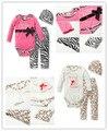 2017 Осень детская одежда девушка новорожденный детская одежда ползунки + леопарда брюки + шляпа 3 шт. костюм младенца Младенческой комплект одежды
