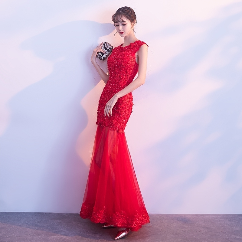 Red Bride Wedding Modern Qipao Dress Chinese Oriental Style Lace ...