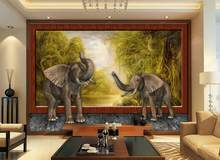 custom 3d mural wallpaper Rainforest Elephant background wall 3d wallpapers for living room 3d stereoscopic wallpaper(China)