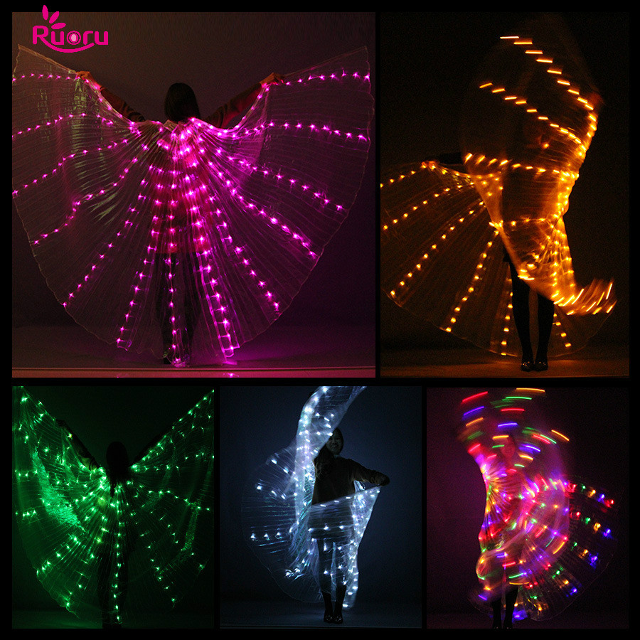 Ruoru Sticks Performance-Props Led Wings Belly-Dance-Accessories with Adjustable Stage