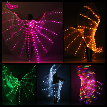 Ruoru Led Isis Wings with Adjustable Sticks Belly Dance Accessories Stage Performance Props Colorful Led Wings Open 360 Degrees
